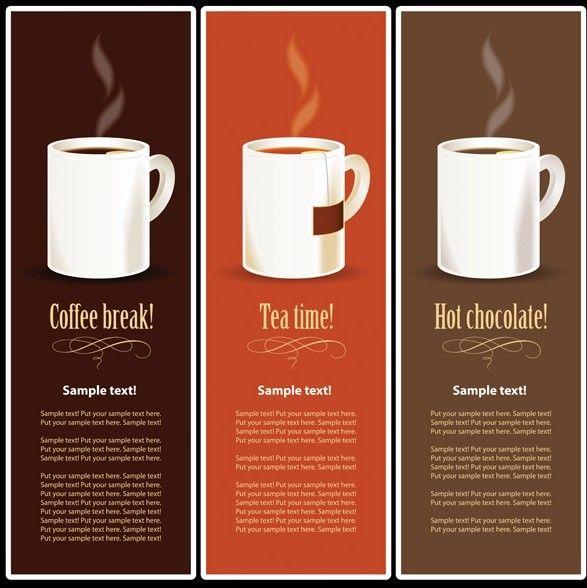 Free Vector Coffee Tea And Chocolate BannerLike Menus  Banners