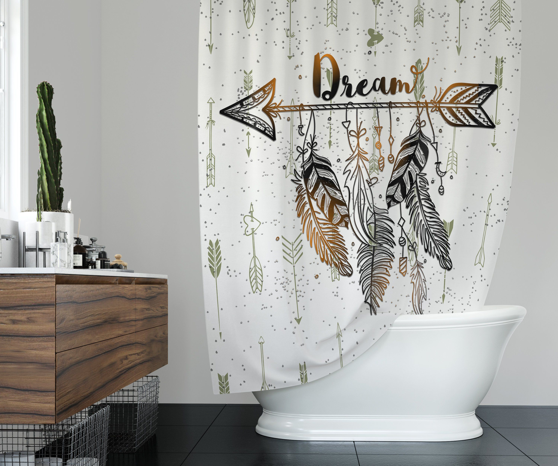 Boho Dream Arrows Shower Curtain W Bathmat Set Options Feathers