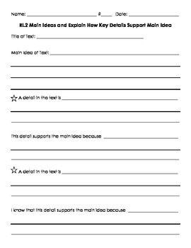 3ri 2 Explain How Details Support Main Idea Main Idea Writing Assessment Teaching Reading Fluency
