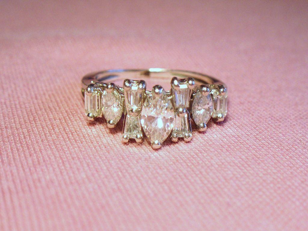 Estate Iridium Platinum Marquise Baguette Diamond Band Ring...a good ...