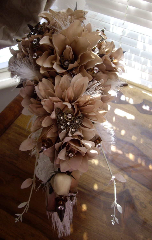 Steampunk Butterfly Madness Bronze Brown Cream Silk Flowers