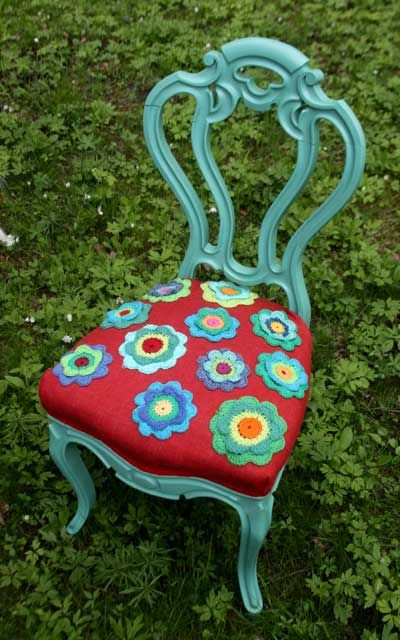 Vintage-chair with crochet flowers  #chair #crochet #craft