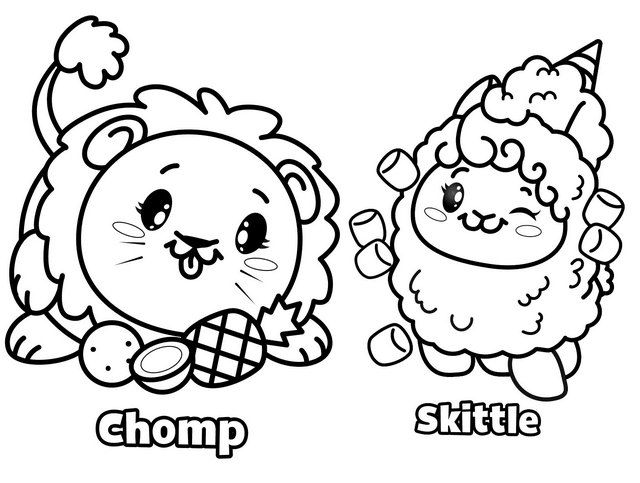 Funny Chomp and Skittle Pikmi Pops Coloring Page