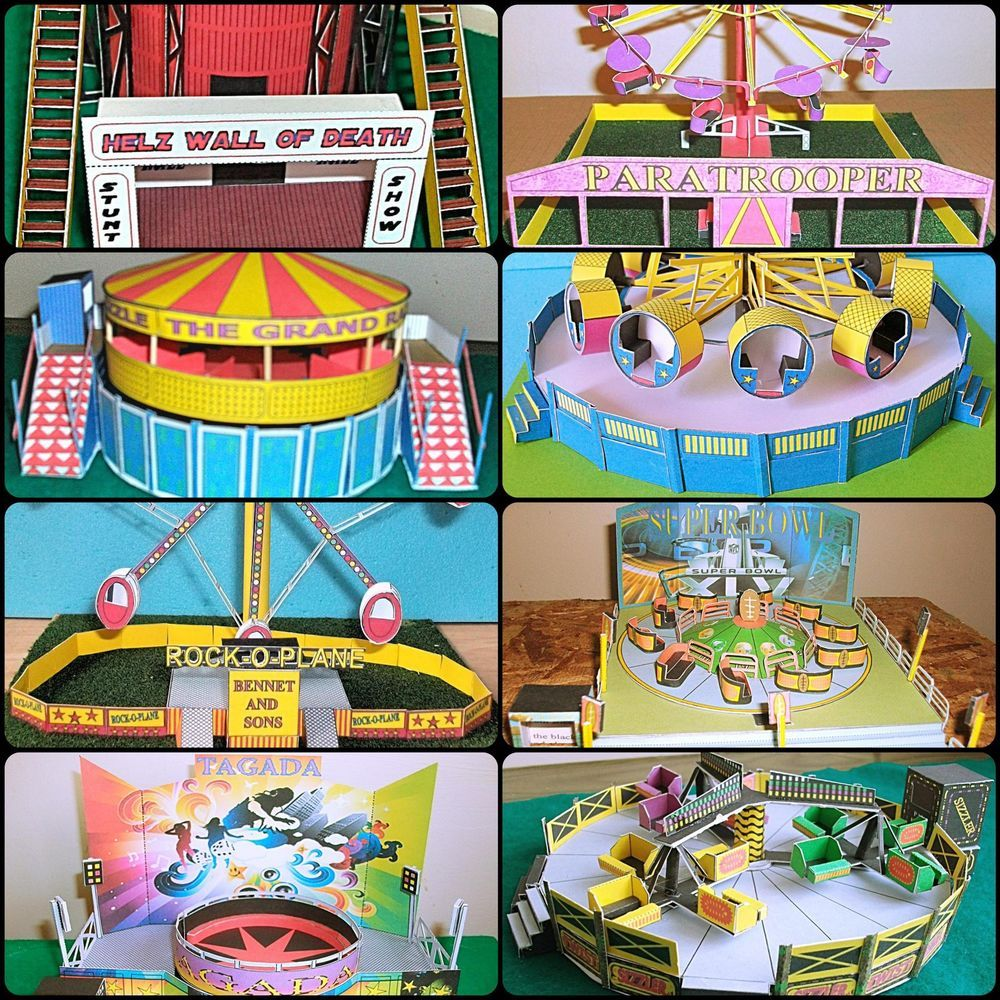 Details About Various Oo Scale Card Model Fairground