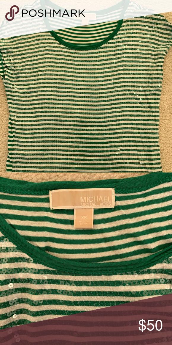 228c476e603 Michael Michael Kors Sequined Shirt Top Blouse Michael Michael Kors  Sequined Shirt Top Blouse Tee Green Stripes Short Sleeve Cute and unique  design XS 90% ...