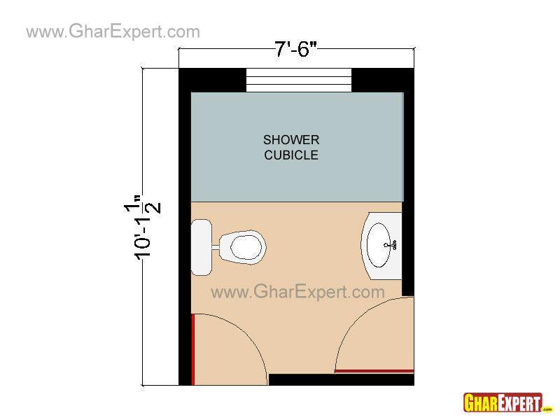 Twin Door Bathroom Floor Plan Or Layout In 76 Sq Feet With