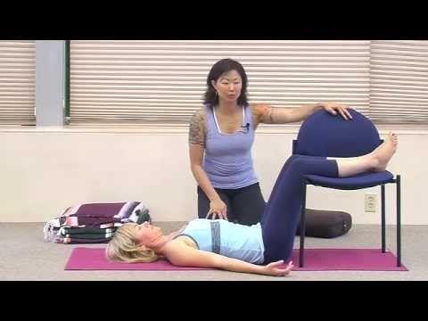 restorative yoga pose legs on a chair  yoga