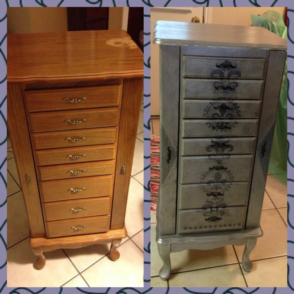 Old Jewelry Chest Upcycle Using Chalk Paint And Valspar Metal And Patina Glaze Jewelry