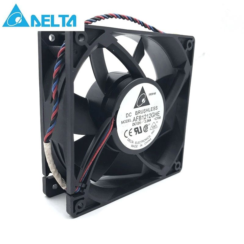 for delta AFB1212GHE 120x120x38mm DC 12V 3.24A 3-pin TAC connector axial powerful cooling fan