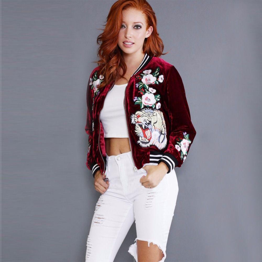 USA Women Basic Embroidered Velvet Bomber Jacket Casual Coat Tiger Rose OutWear