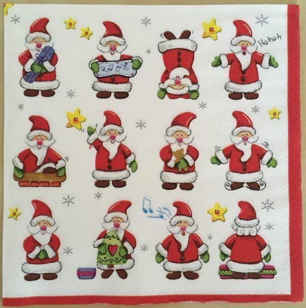 2 Serviettes papier Père Noël Images Decoupage Paper Napkins Christmas Santa