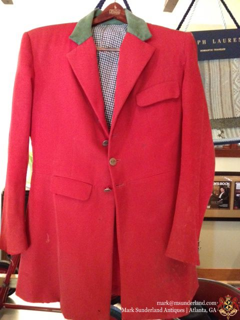 Vintage British Red Riding Jacket Complete W Moth Holes And Fox Blood Buttons Initialed Th 139