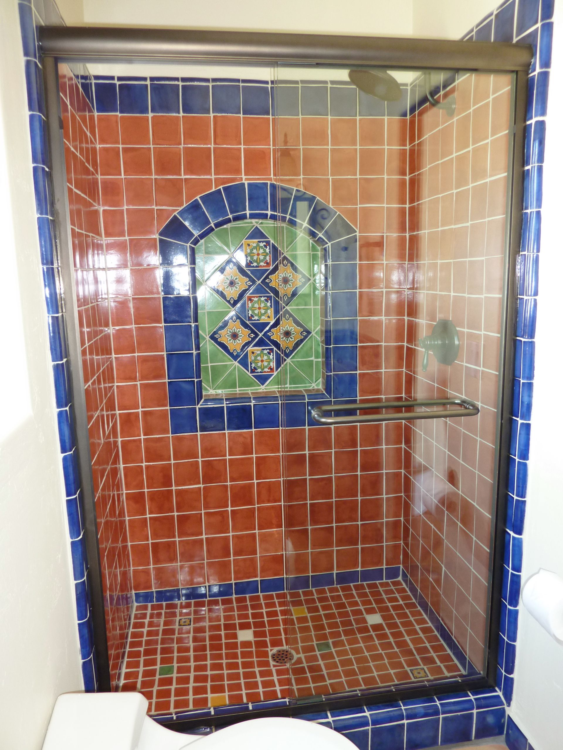 Bathroom Shower Using Mexican Tiles