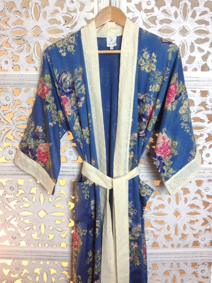 Parisian Rose Long Kimono Dressing Gown Kimono Dressing Gowns