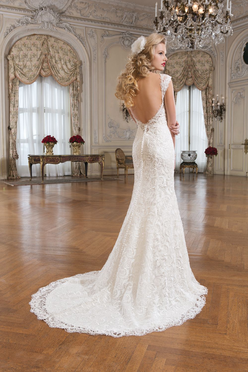 Low Back Wedding Dress Fit And Flare : New in quot clara by justin alexander venice lace