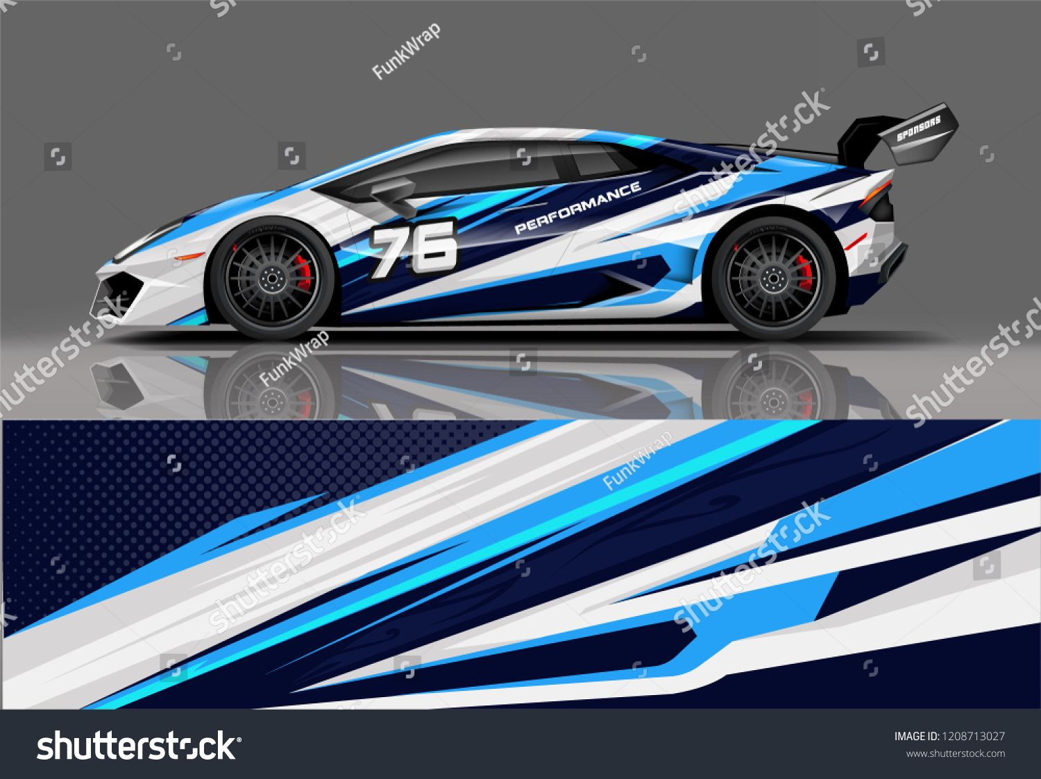 Sport racing car wrap decal and sticker livery design