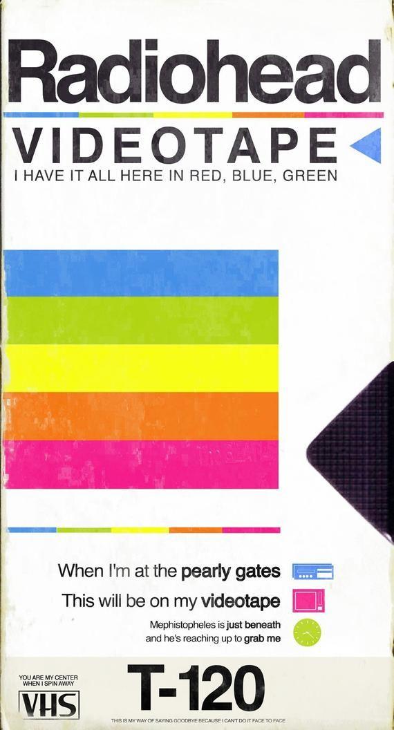 Radiohead Videotape Vhs Tape Packaging Mashup Print Radiohead Radiohead Poster Retro Poster