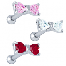 CZ Tiny Heart Bow Cartilage Earring Stud | You'll love the look of this Tiny Heart Bow cartilage earring stud. The simple bow design is set off by two heart shaped cubic zirconia gems and finished in a silver tone.