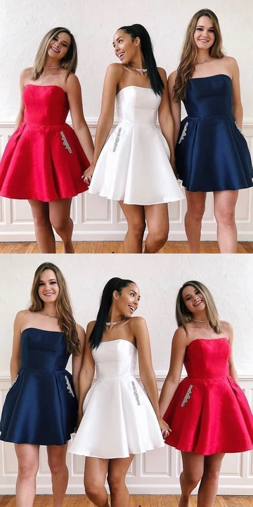 A Line Strapless Navy Blue/White/Red Short Homecoming Dress With Pockets Beading S8208