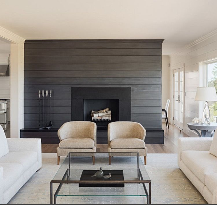 Accent Walls Modern Fireplace: Creams/beiges With Dark Accent