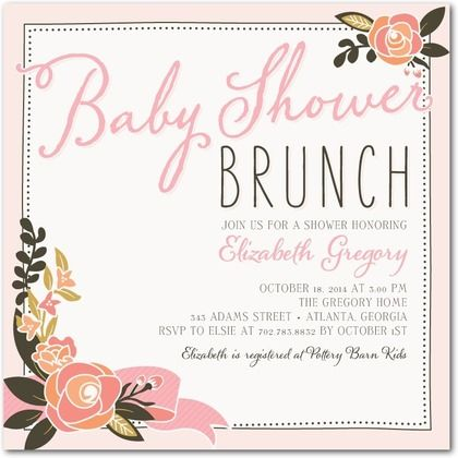 blooming brunch - baby shower invitations - magnolia press - rose, Baby shower invitations