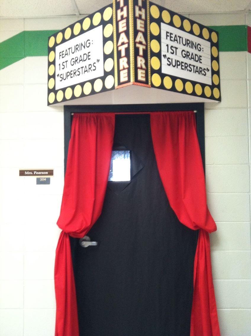 Classroom window decoration  Hollywood Themed classroom door  Movie Theater Theme  Pinterest