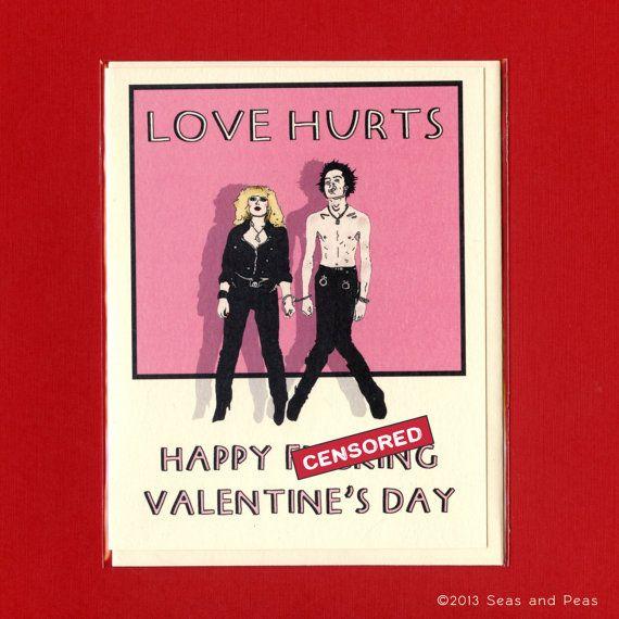 SID & NANCY VALENTINE  Love Hurts  Mature Valentine by seasandpeas, $4.25