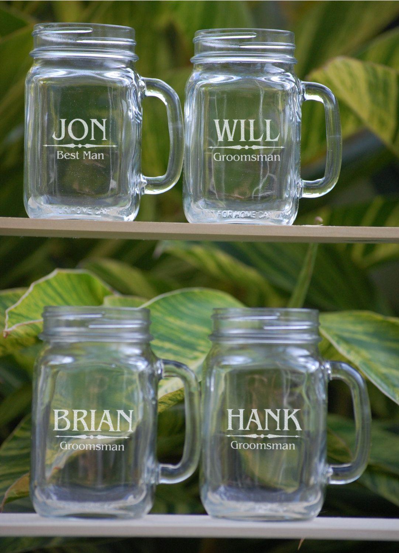 Set Of 4 Groomsmen Gift Personalized Mason Jar Mugs Wedding Etsy Gifts For Wedding Party Wedding Party Gifts Groomsmen Personalized Mason Jars
