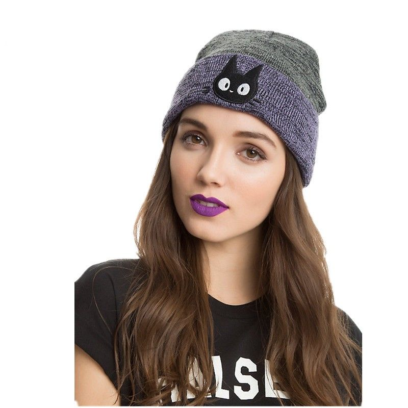 296519228b3 Click to Buy    Hats For Men Womens Fashion Hats Kitty Embroider Autumn  Winter Keep Warm Knitted Hat Men Women Bonnet  Affiliate