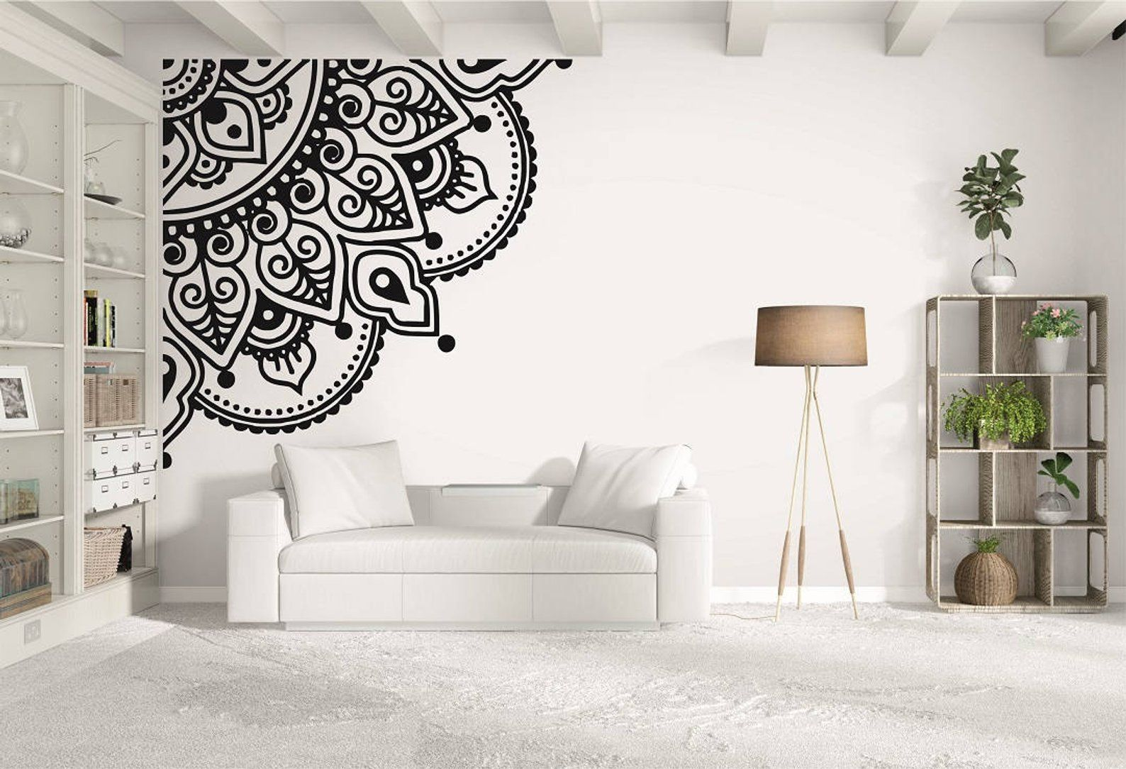 mandala corner piece decal spiritual buddhism wall mural on best wall color for artwork id=72380