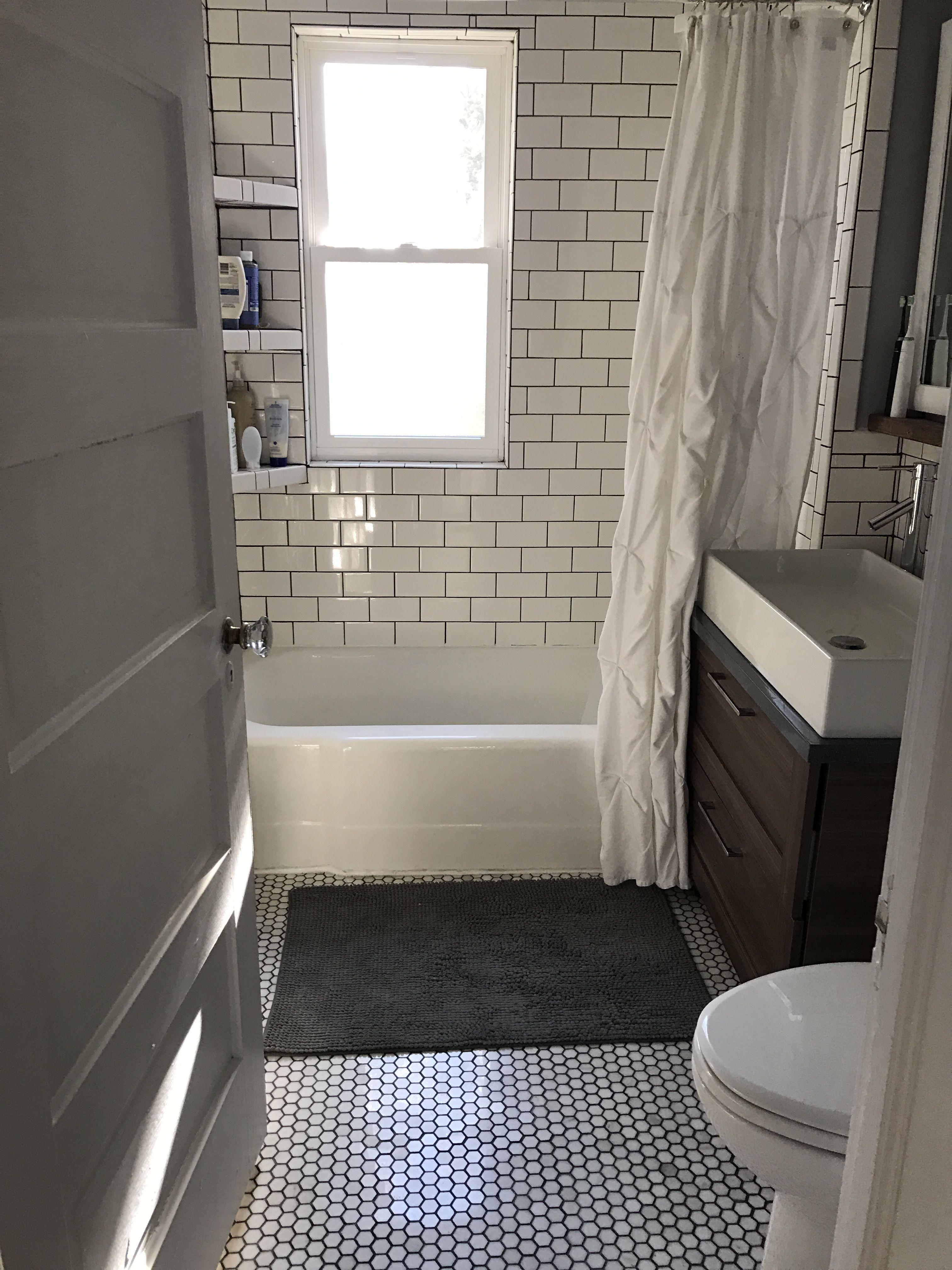White Subway Tile, Truffle Grey Grout