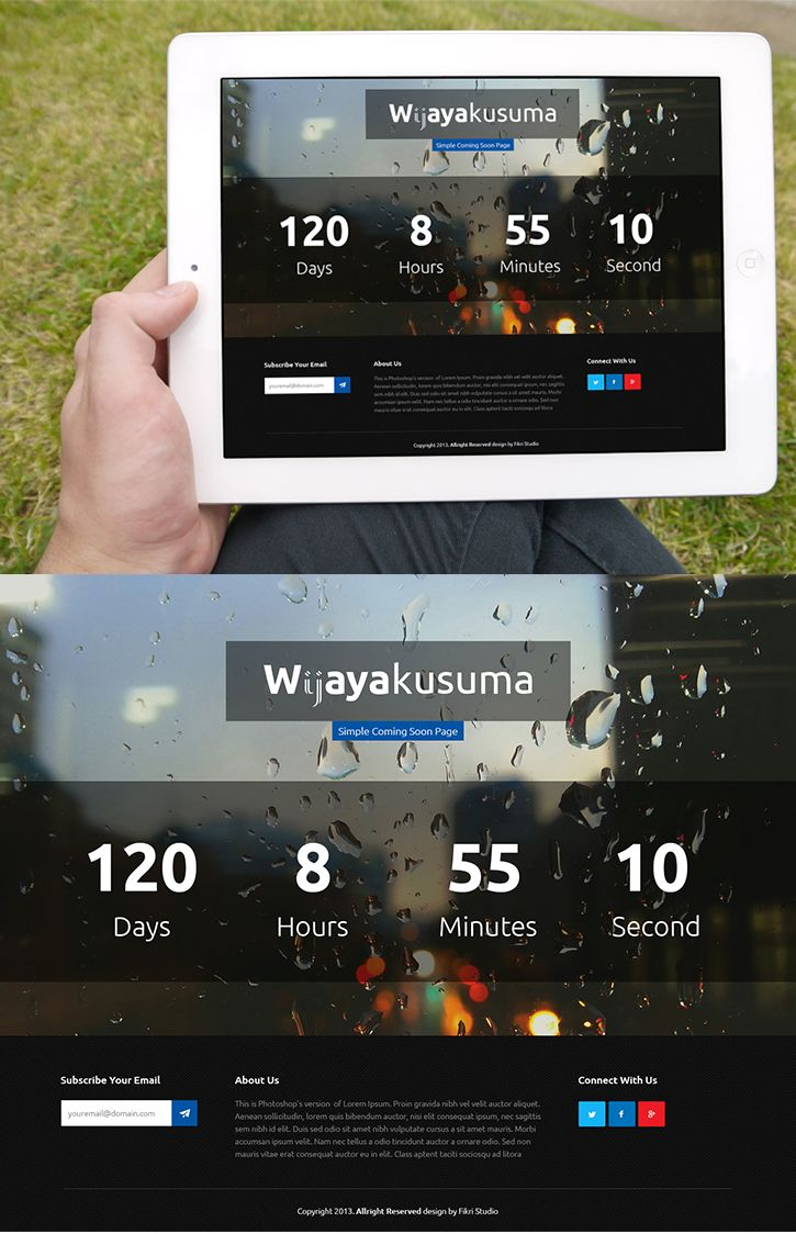 Wijayakusuma FREE PSD & HTML Coming Soon Page, #Bootstrap ...