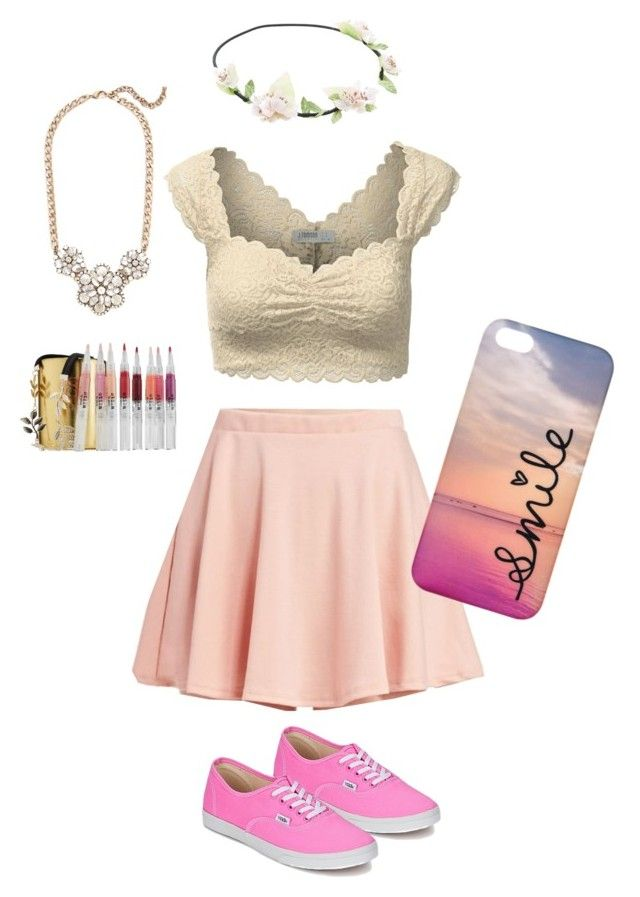 """""""cute crop top outfit #loveit <3"""" by leilany1 ❤ liked on Polyvore featuring J.TOMSON, Wet Seal, Vans, Leslie Danzis and Stila"""