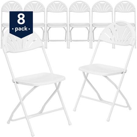 Flash Furniture 8 Pack Hercules Series 800 Lb Capacity White