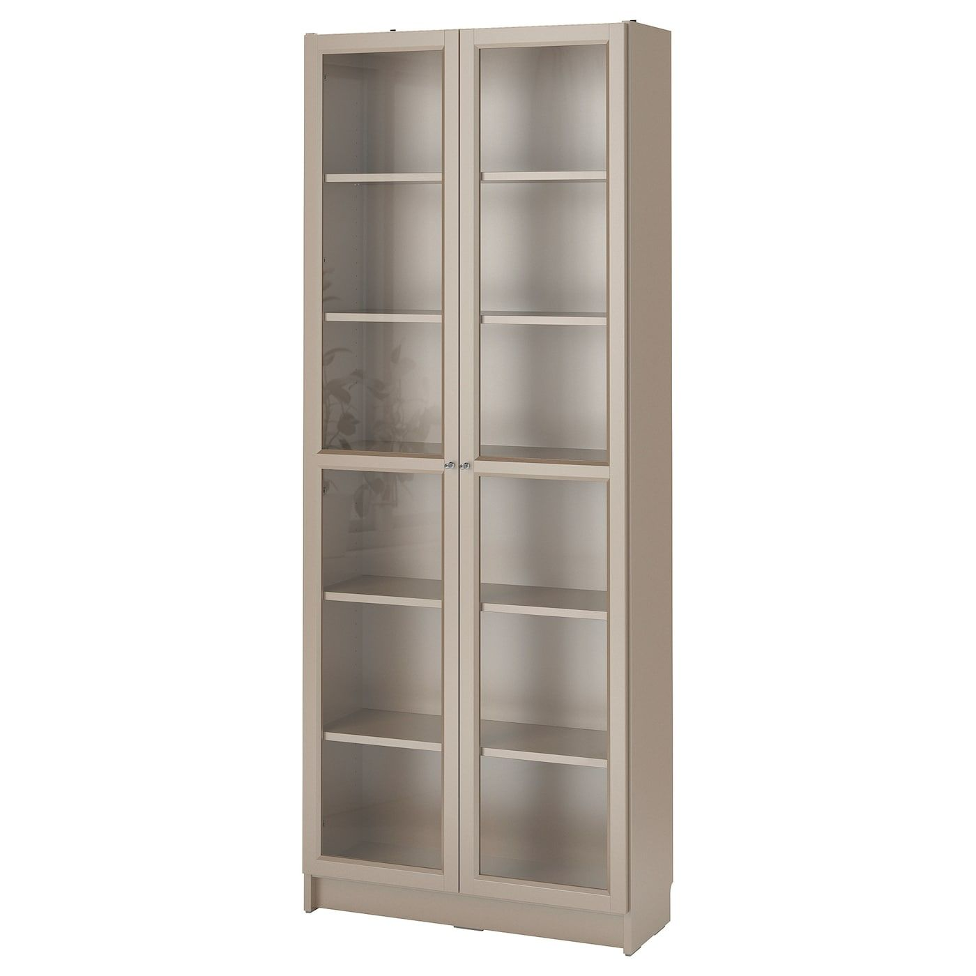 Billy Bookcase With Glass Doors Gray Metallic Effect 31 1 2x11