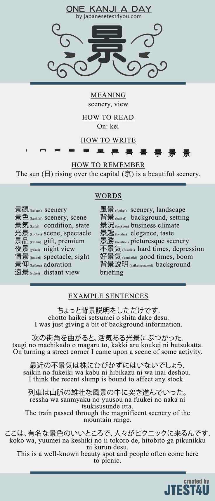 Learn one Kanji a day with infographic 景 kei