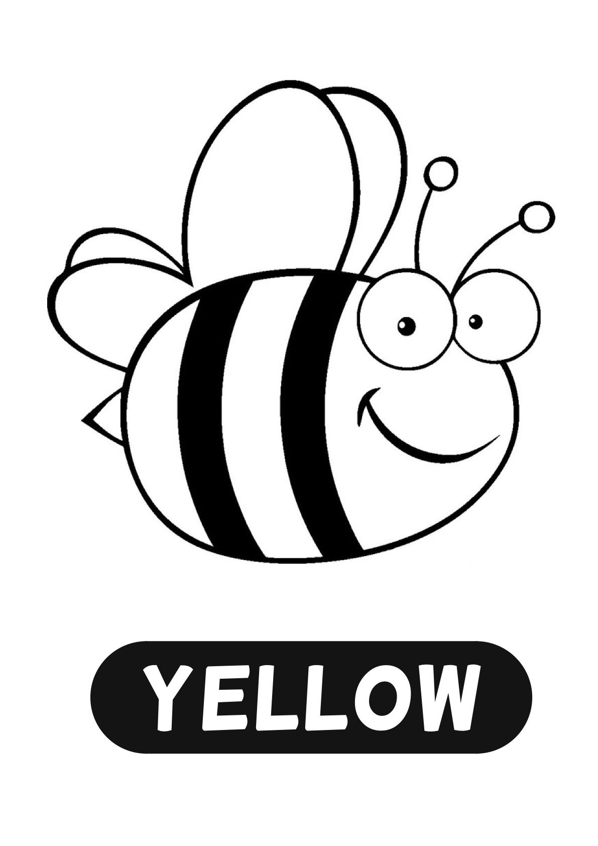 COLOUR ART Yellow paint or colour bee and words, glitter