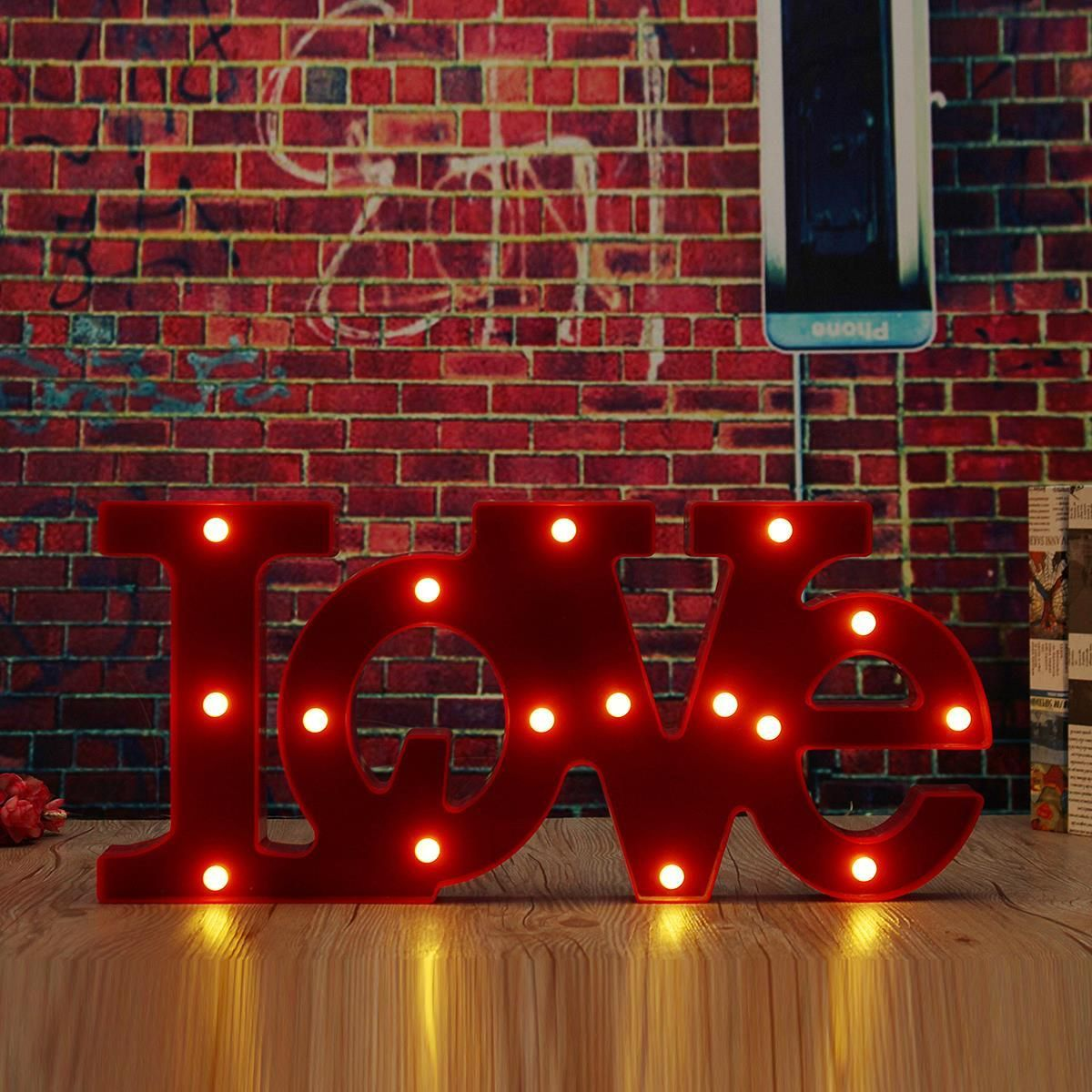 Gifts For Wedding Night: Wall Mounted LOVE LED Sign Lamp Lighted Letters Stand Red