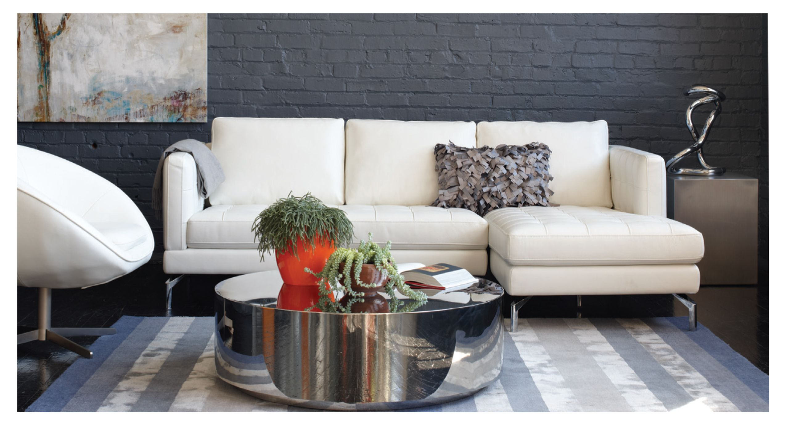 White Leather Arcadia Sectional With Chrome Leg Kasala