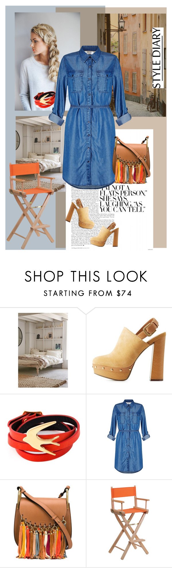"""Denim day..............."" by style-stories ❤ liked on Polyvore featuring Magical Thinking, Report, McQ by Alexander McQueen, Miss Selfridge, Chloé and Flash Furniture"