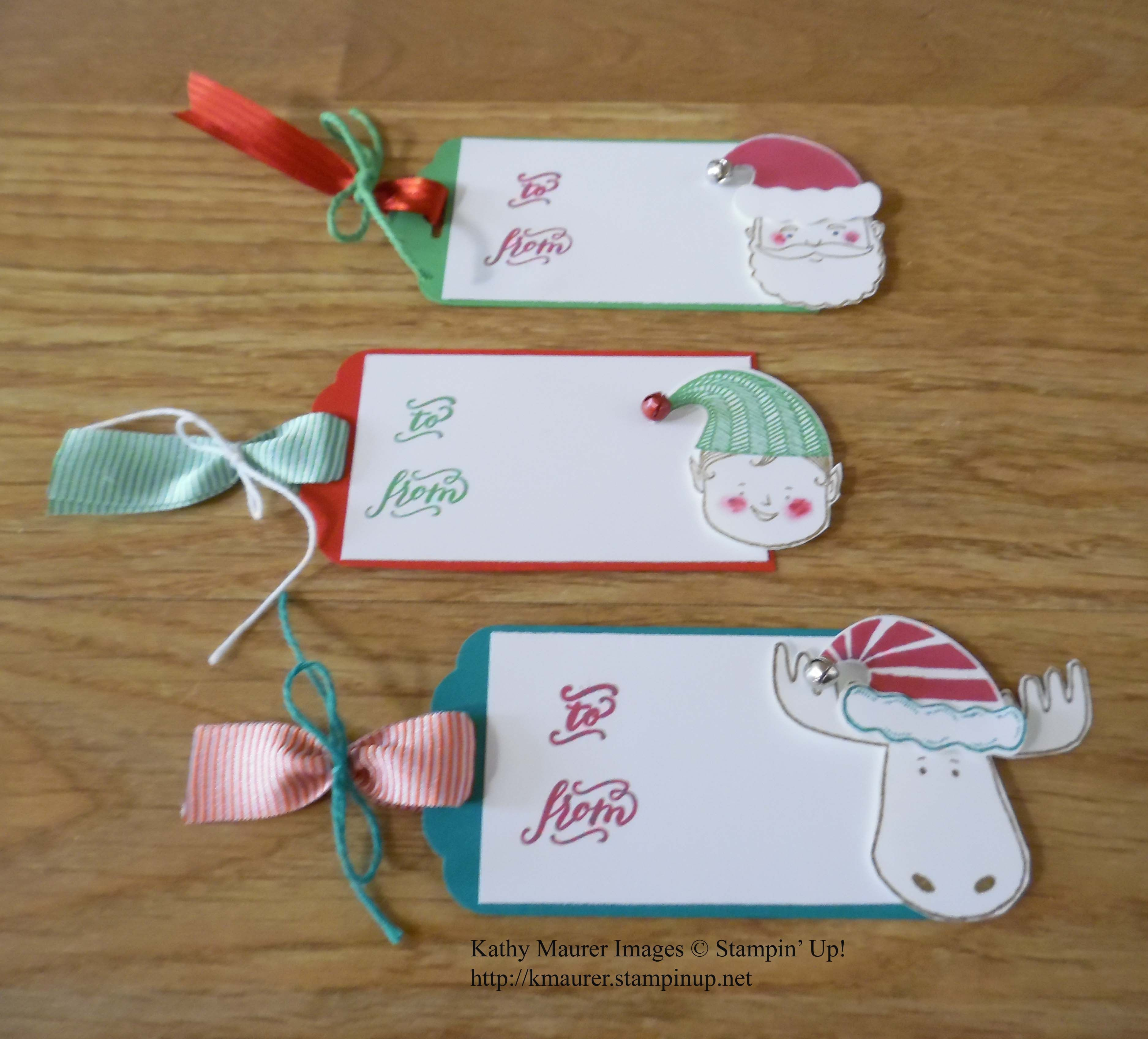Christmas Gift Tags Made With Stampin Ups Jolly Friends Bundle