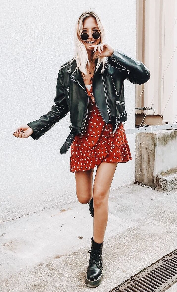 ✰P I N T E R E S T : @annaxlovee✰ | Leather jacket dress