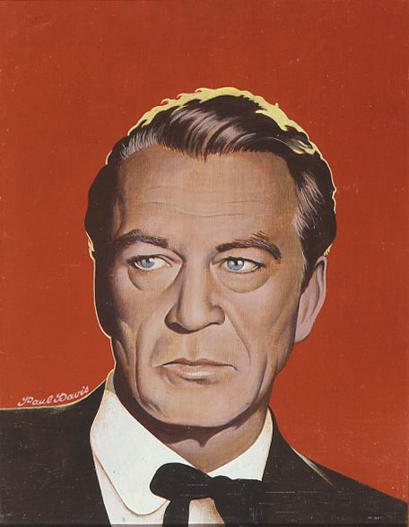 "Paul Davis ""Gary Cooper""  1973, acrylic on wood, 47.6 x 37.5 cm"