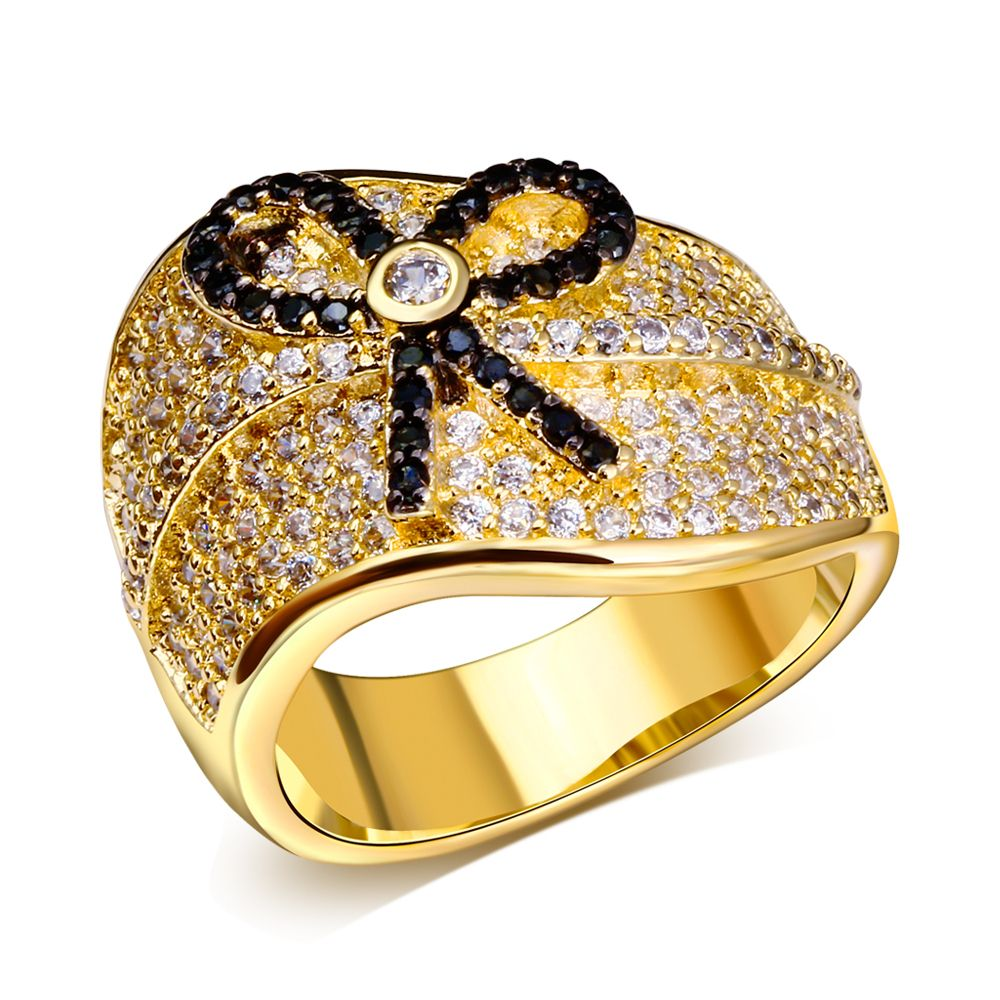 Find More Rings Information about 18K Real Gold Plated AAA CZ Ring ...