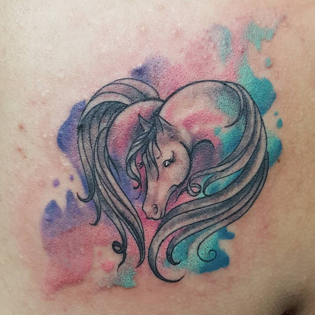 Horse Tattoo Small: Super Cute Watercolor Horse Tattoo By @ajstattooworld