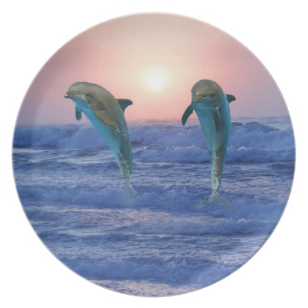 Dolphins At Sunrise Plate Dolphins Dolphin Images Dolphin Gifts