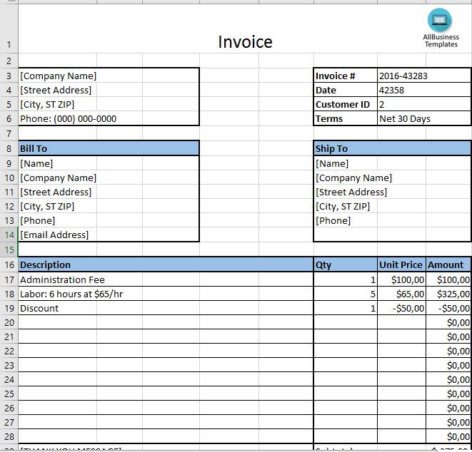 Basic Invoice Template  Basix Invoice Xslx Template  Templates
