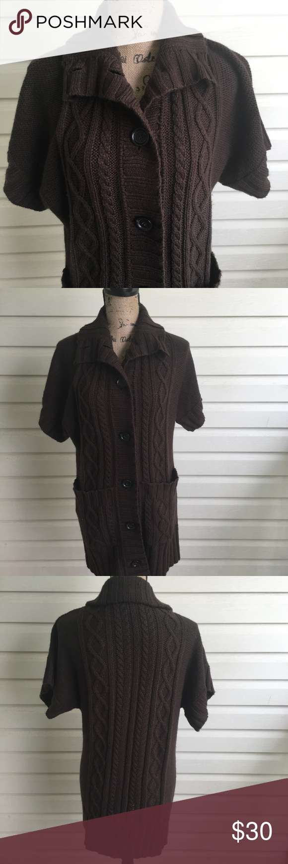 Michael Kors Brown Short Sleeve Duster Cardigan | Brown shorts ...