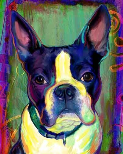 Boston Terrier Print Blue Dog on Canvas by artpaw on Etsy, $9.99
