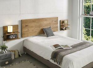 Detalles de Hogar24- Cabecero + 2 mesitas acabado madera maciza natural